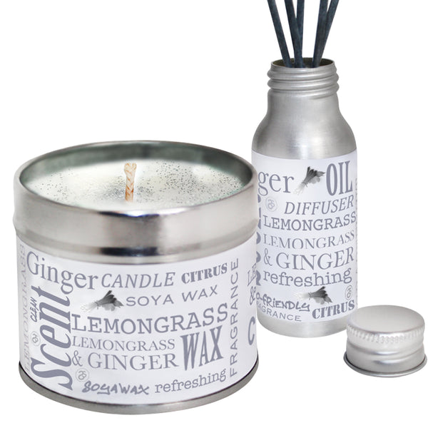 Lemongrass & Ginger Scented Candle & Diffuser Gift Set