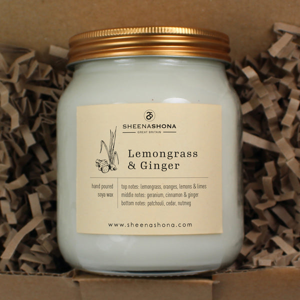 Lemongrass & Ginger Scented Soya Wax Honey Jar Candle