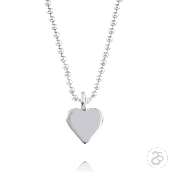Sterling Silver Heart Charm & Beaded Chain