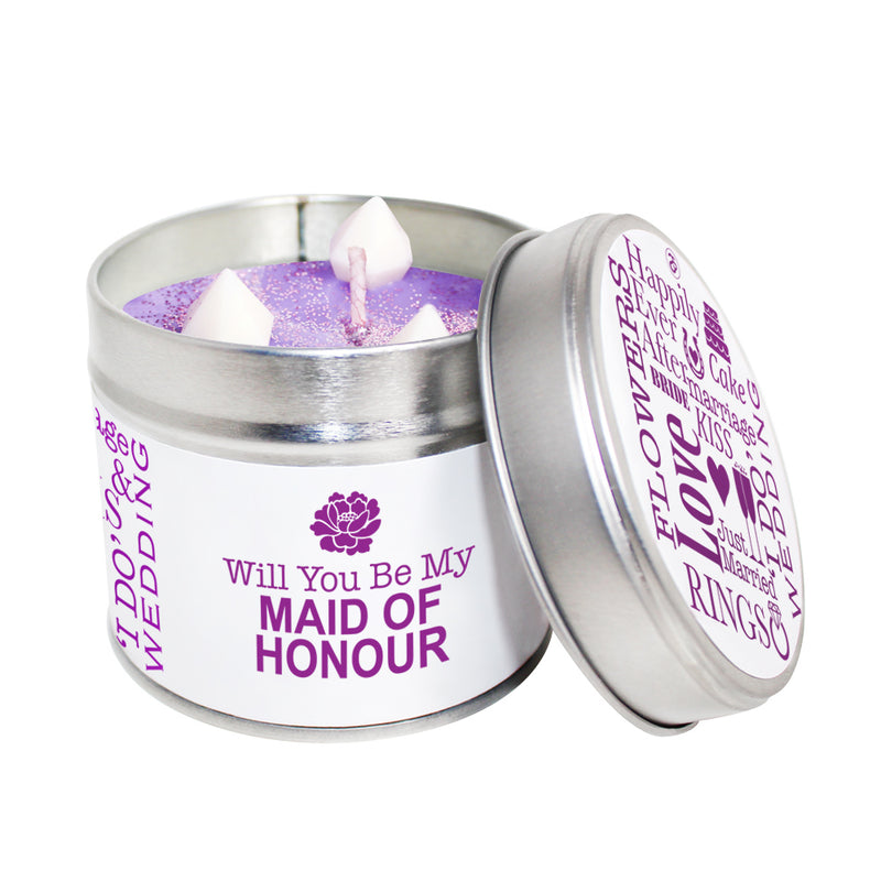 Will You Be My Maid Of Honour Soya Wax Candle Tin