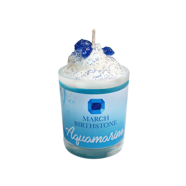 March Birthday Aquamarine Birthstone Soya Candle