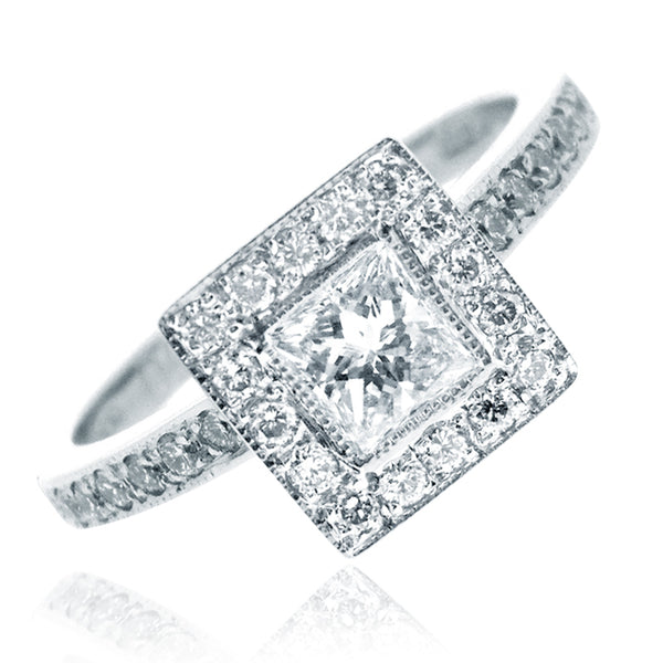 Platinum Mary Brilliant Cut 0.63 CT Diamond Ring