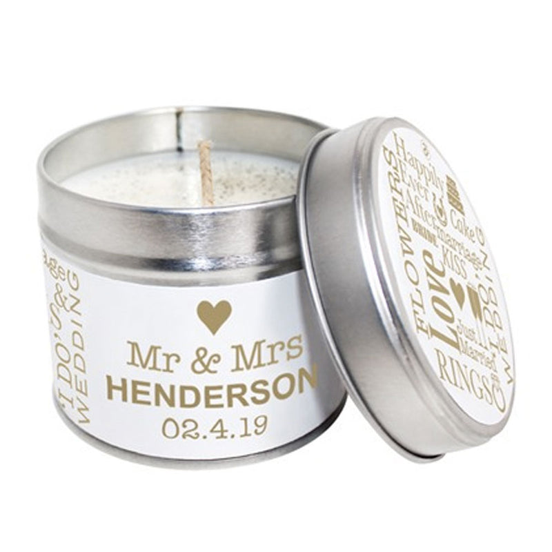 Personalised Mr & Mrs Wedding Day Soya Wax Candle Tin