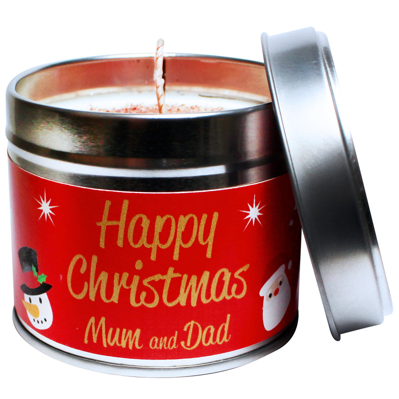 Personalised Happy Christmas Mum & Dad Soya Wax Candle Tin