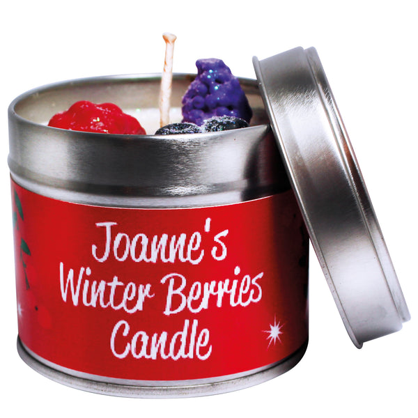 Personalised Christmas Winter Berries Soya Wax Candle Tin