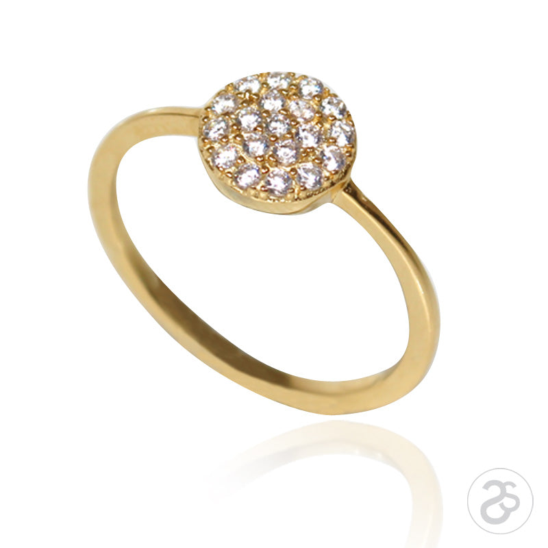 Yellow Gold Vogue Button Ring