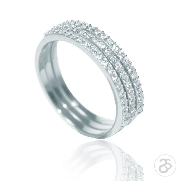 Sterling Silver Stacking Vogue Eternity Rings