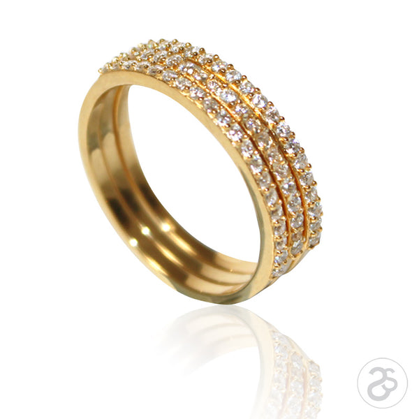 Yellow Gold Stacking Vogue Eternity Rings