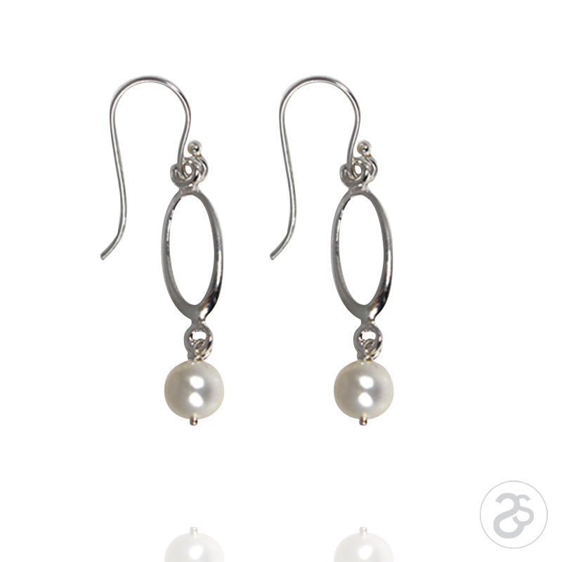 Freshwater Pearl & Sterling Silver Drop Ellipse Earrings