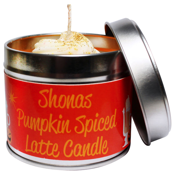 Personalised Spiced Pumkin Latte Soya Wax Candle Tin