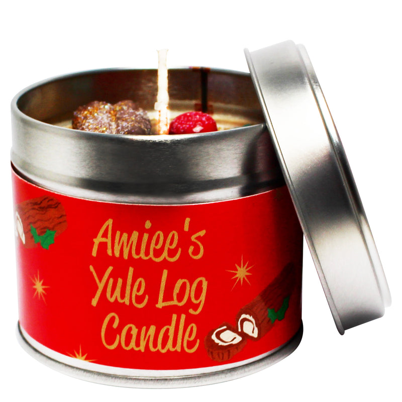 Personalised Christmas Yule Log Soya Wax Candle Tin