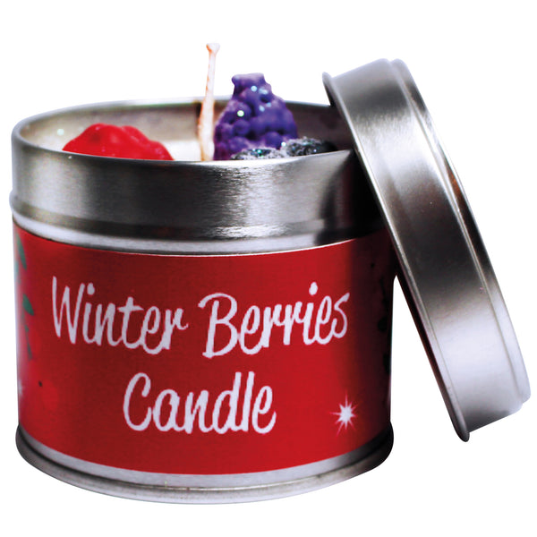 Christmas Winter Berries Soya Wax Candle Tin