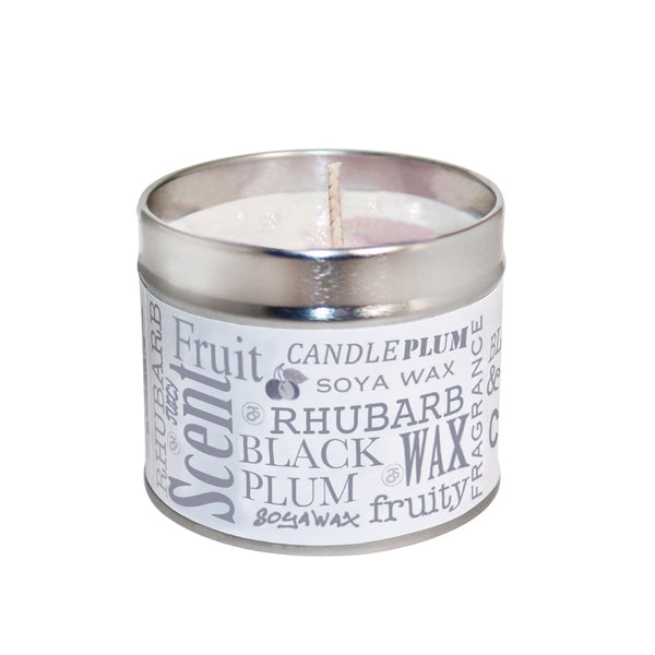 Black Plum & Rhubarb Scented Soya Wax Candle Tin