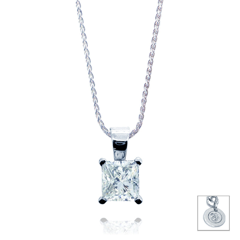 Princess Cut 0.5ct Diamond Pendant