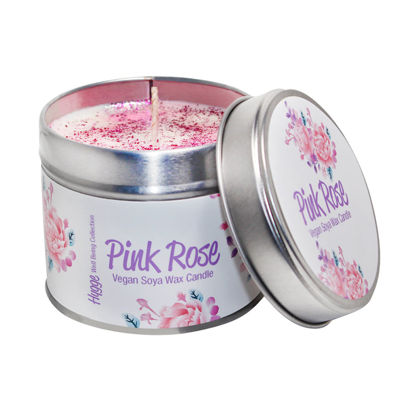 Pink Rose Scented Hygge Candle Tin