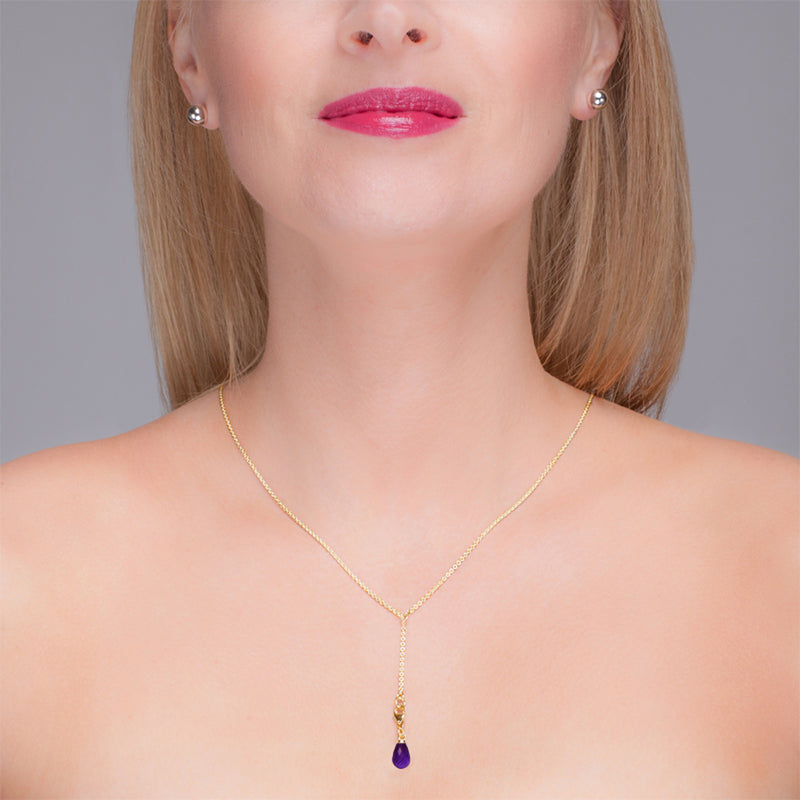 Amethyst & Yellow Gold Lariat Necklace