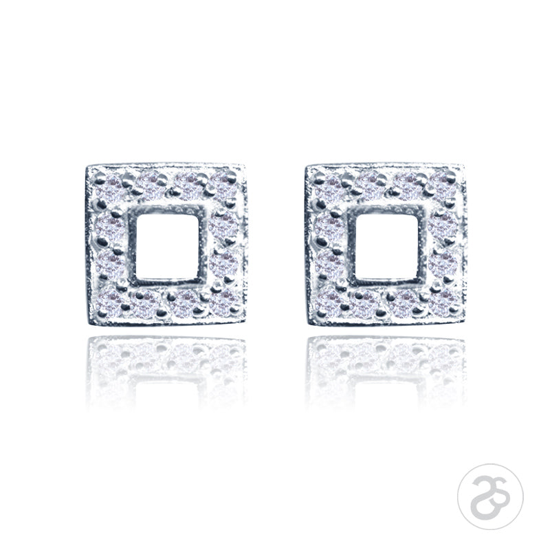 Sterling Silver Square Pave Earrings