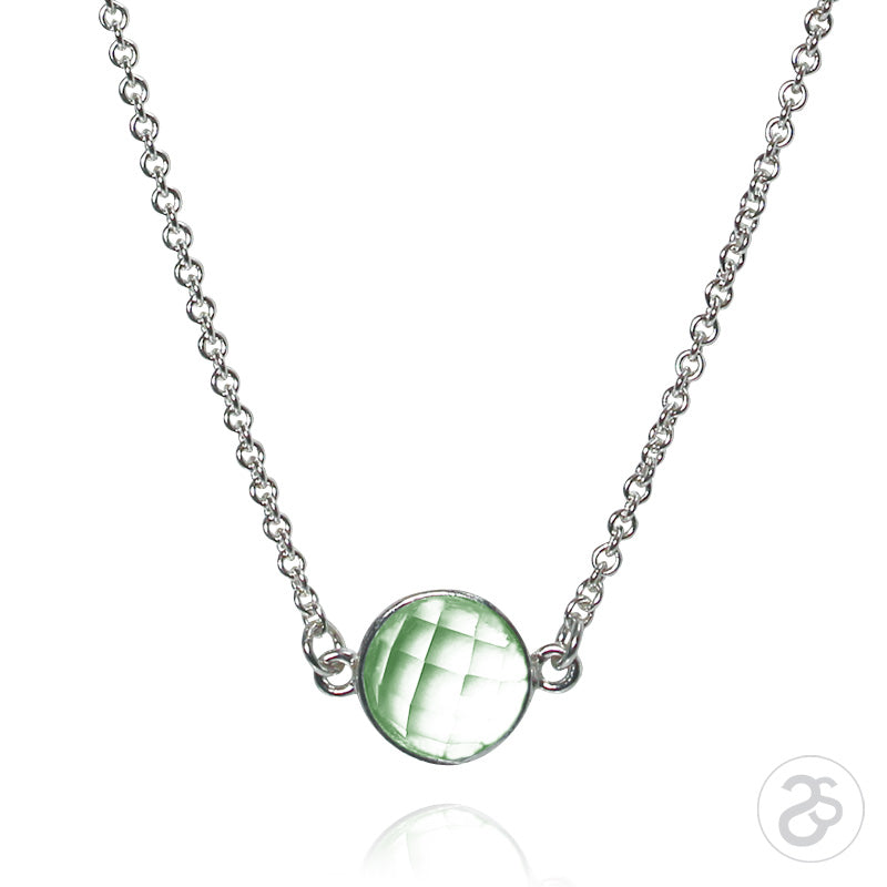 Green Amethyst Bezel Gemstone & Silver Necklace