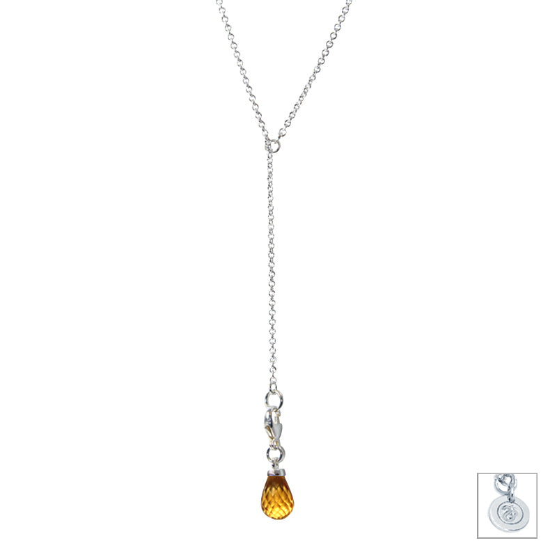Citrine & Sterling Silver Lariat Necklace