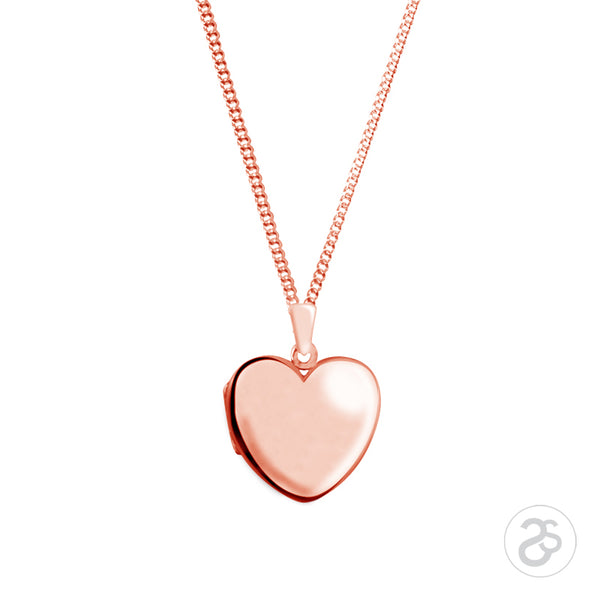 Rose Gold Little Heart Photo Locket & Chain