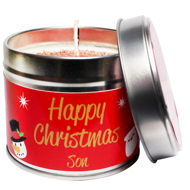 Personalised Happy Christmas Son Soya Wax Candle Tin