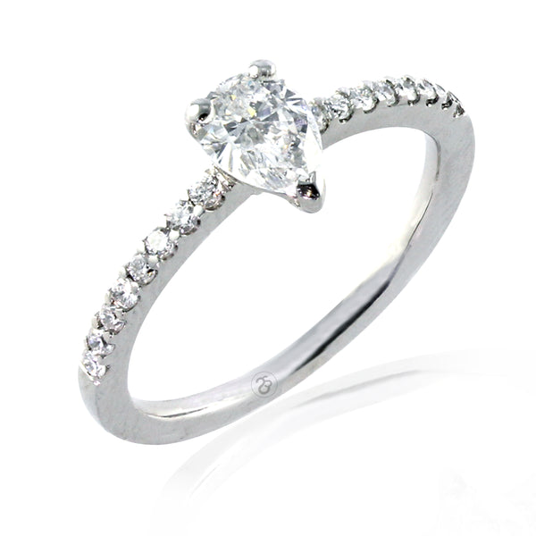 Platinum Stuart Pear Cut 0.66 ct Diamond Ring