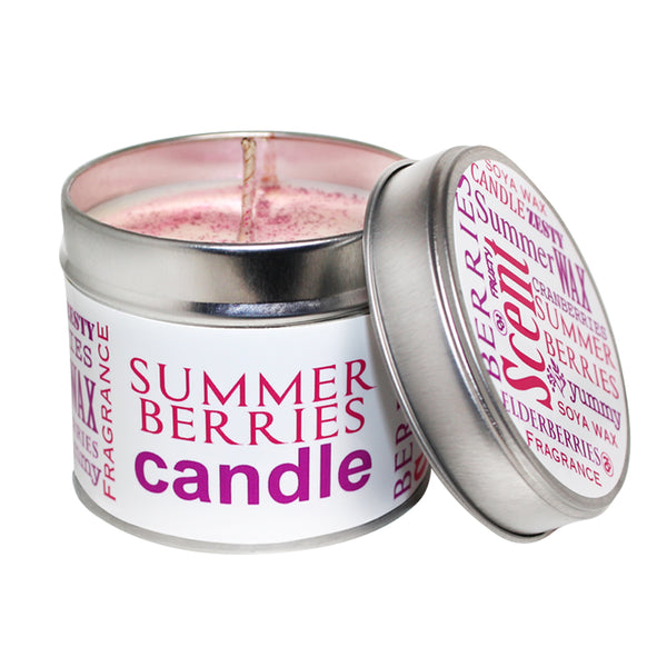 Summer Berries Scented Soya Wax Candle Tin