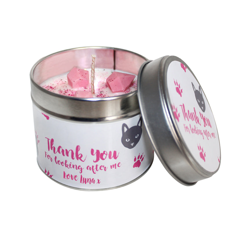 Personalised Thank You For Looking After My Cat Soya Wax Candle Tin