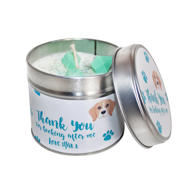 Personalised Thank You For Looking After My Dog Soya Wax Candle Tin