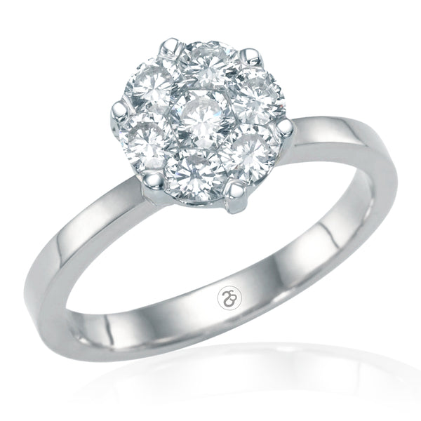 White Gold Elizabeth 1 ct Invisible Set Diamond Ring