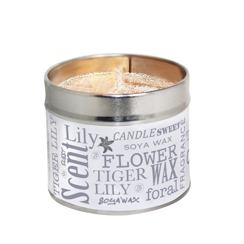 Tiger Lily Scented Soya Wax Candle Tin