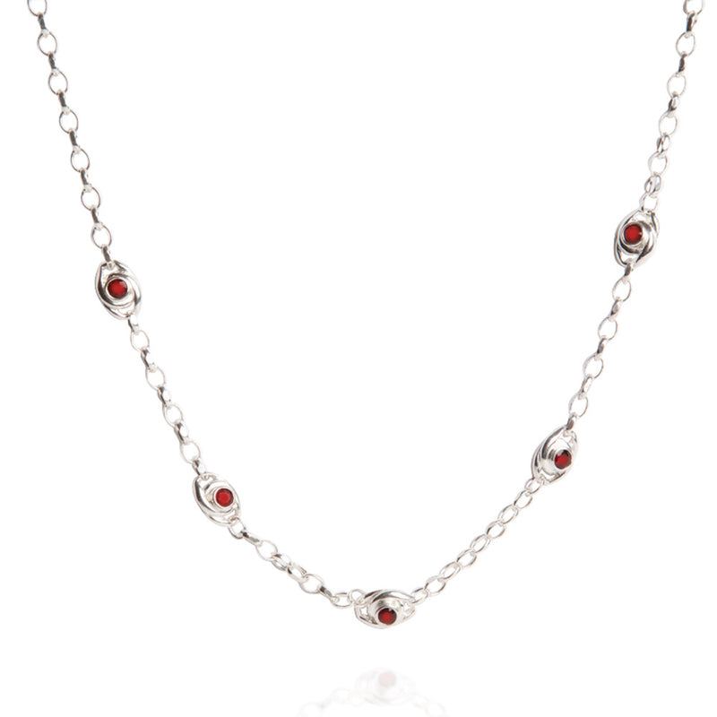 Garnet & Sterling Silver Necklace
