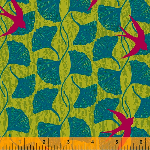 Windham Fabrics - Norma Rose - Ginkgo Leaves - green