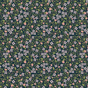 Poppie Cotton Country Life - Berry Blossoms -navy