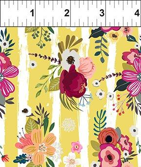 In The Beginning Fabric - Mermaids and Unicorns - Floral Stripe Gold