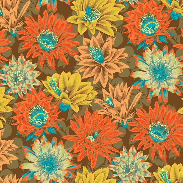 Cactus Flower - Brown by Philip Jacob for the Kaffe Fassett Collective