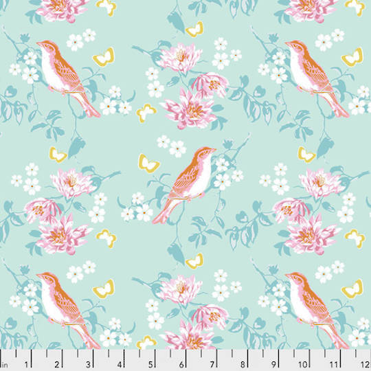 Darling Meadow - Birds with Blossoms Aquamarine by Tanya Whelan