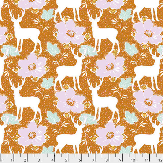 Darling Meadow - Deer Floral Orange by Tanya Whelan
