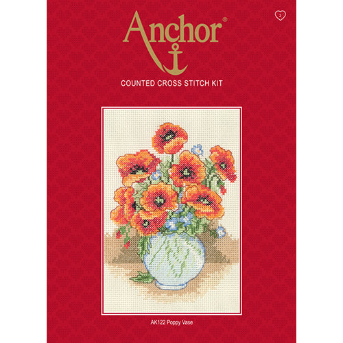 Anchor Counted Cross Stitch Kit - AK122 Poppy Vase