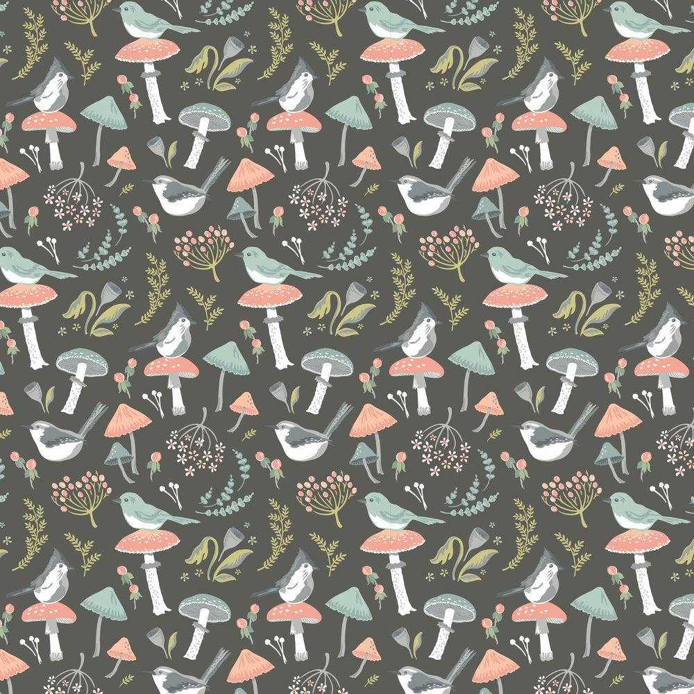 Poppie Cotton - Woodland Songbirds - Charcoal