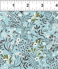In The Beginning Fabric - Mermaids and Unicorns - Buds and Sprigs-Soft Blue