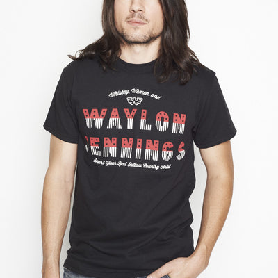Whiskey, Women, and Waylon Jennings Black Mens Tee Shirt - Men's Tee Shirt - Waylon Jennings Merch Co.