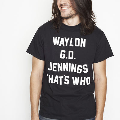 Waylon G.D. Jennings Black Mens Tee Shirt - Men's Tee Shirt - Waylon Jennings Merch Co.