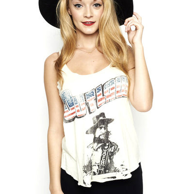 Waylon Jennings Picture Outlaw Women's Racerback Tank Top - Women's Tank Top - Waylon Jennings Merch Co.