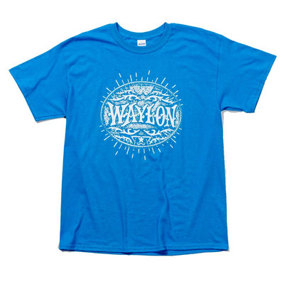 Waylon Jennings Symbol Flying W Blue Shine Tee - Men's Tee Shirt - Waylon Jennings Merch Co.