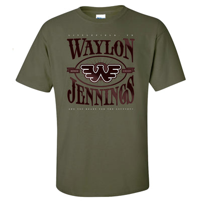 Waylon Jennings Ready for the Country Flying W Mens Tee Shirt (Military Green)