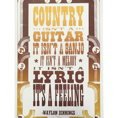 Waylon Jennings Country Is A Feeling Poster