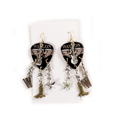 Flying W & Boots Guitar Pick Earrings - Accessories - Waylon Jennings Merch Co.
