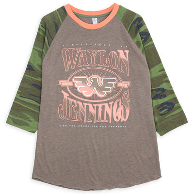 Waylon Jennings Ready for the Country Raglan - Men's Tee Shirt - Waylon Jennings Merch Co.