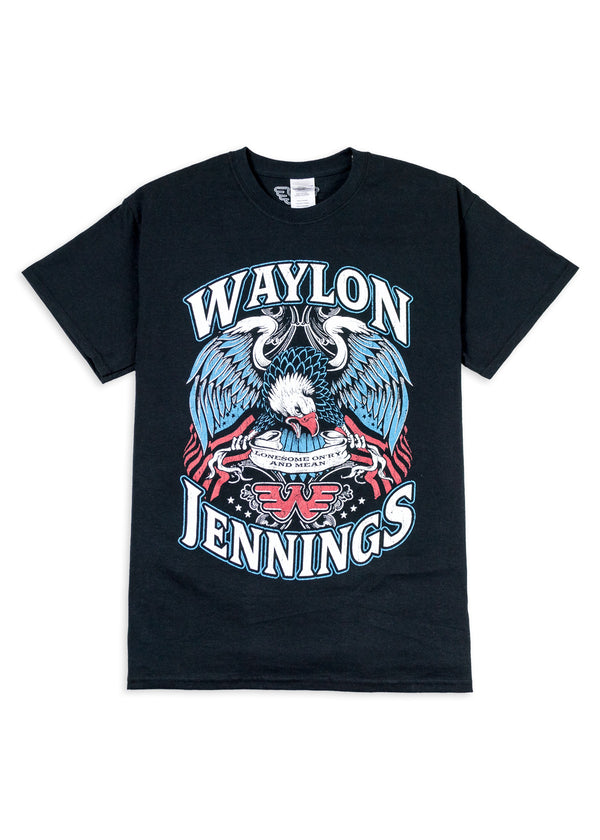 Waylon Jennings Lonesome Onry And Mean Eagle Mens Crewneck Tee